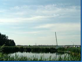 Zdjęcie z Oczyszczalni ścieków przedstawiające zbiornik wodny.